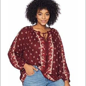 Lucky Brand Boho Peasant Top Floral Plus Size